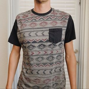 Men's Aztec Print Short-Sleeve Soft Pocket Shirt